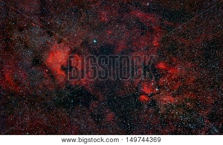 Nebulosity around Cygnus Constellation including North America Nebula captured with an amateur telescope