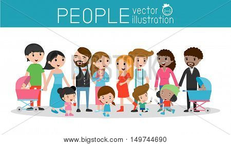 family and children ,family and kids, family life, set of Happy family, Different nationalities and dress styles, people character cartoon concept, African-American, Asian. European,