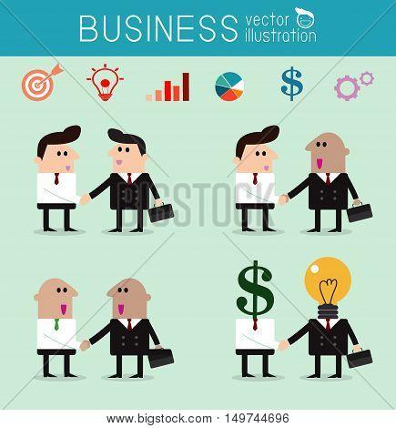 set of business partners handshaking, business men handshake, Vector Illustration
