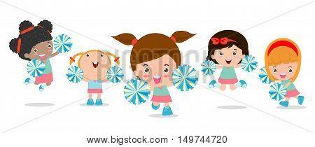 Vector illustration of cheerleaders, Cheerleader, cheerleading girl.