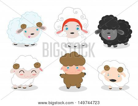 Sheep set collection on white background ,Cute sheep, white sheep,sheep with horns, black sheep, brown sheep, Sheep character collection vector illustration.