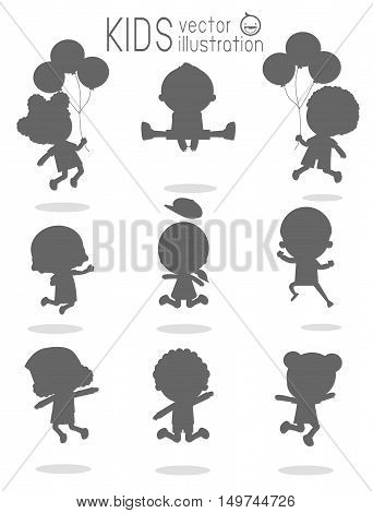 Children silhouettes jumping, Kids silhouettes jumping on white background, Multi-ethnic children jumping, Kids jumping with joy , happy jumping kids, kids jamp,Vector illustration