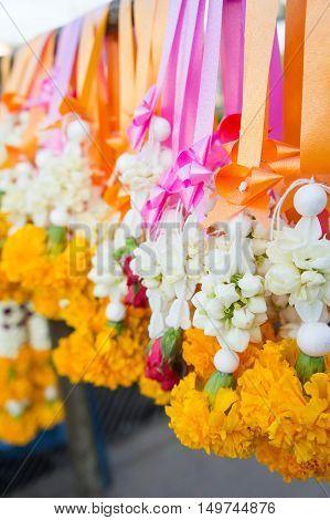 Flower garland sacrificial worship sacred Buddhist faith.
