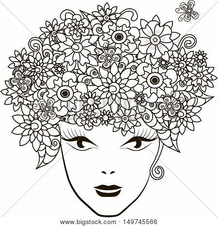 Girl with flowers hair, coloring page anti-stress vector illustration
