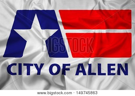 Waving Flag of Allen Texas USA, with beautiful satin background. 3D illustration