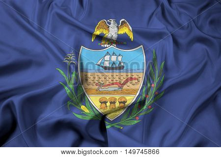 Waving Flag Of Allegheny County, Pennsylvania, Usa
