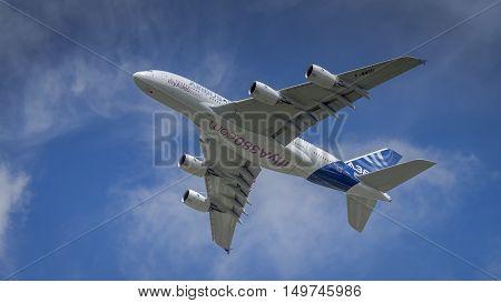 Farnborough UK - 16th July 2016: A display Airbus A380 in flight