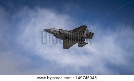 Farnborugh UK - 6th July 2016: Lockheed Martin F35B joint strike fighter aircraft in flight at Farnborugh Airshow