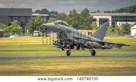 Farnborugh UK - 6th July 2016: RAF Typhoon fighter bomber i