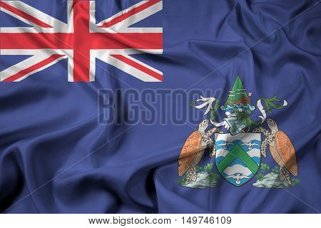 Waving Flag of Ascension Island Canada, with beautiful satin background. 3D illustration