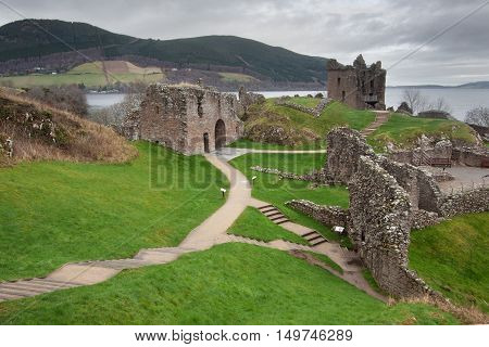 Urquhart Castle, on Loch Ness lake, Scotland