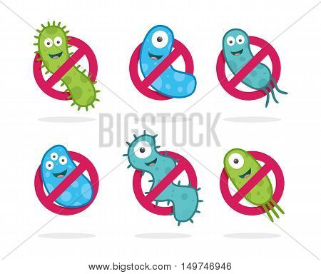 Antibacterial sign with green and blue bacteria illustrations. Isolated vector illustration