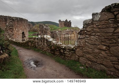 Ancient Urquhart Castle, Loch Ness, north Scotland