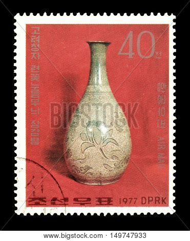 NORTH KOREA - CIRCA 1977 : Cancelled postage stamp printed by North Korea, that shows Celadon vase.