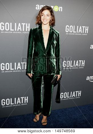 Olivia Thirlby at the Los Angeles premiere of Amazon's 'Goliath' held at the London Hotel in West Hollywood, USA on September 29, 2016.