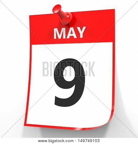 May 9. Calendar On White Background.