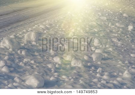 Clumps of the fresh fluffy snow fell on Christmas Eve. Natural winter background