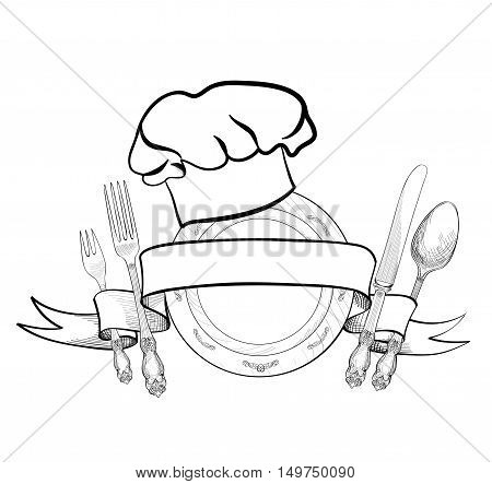 Chef cook hat with fork spoon knife and plate hand drawing sketch label. Cutlery icon. Catering and restaurant service insignia. Restaurant symbol chef cook hat.