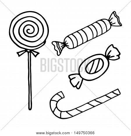 Christmas cartoon dppdle candies set. Vector illustration