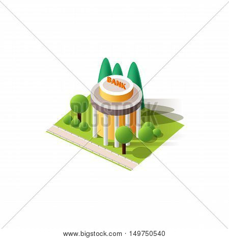 Stock vector illustration isolated multi-storey bank with arranged territory for business center on a white background