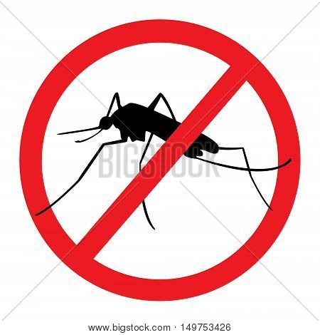 Vector illustration stop mosquito malaria sign for spray insecticide