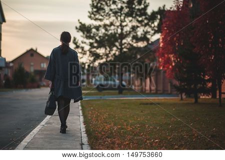 woman in grey coat walking down the street, autumn. The view from the back in full view.