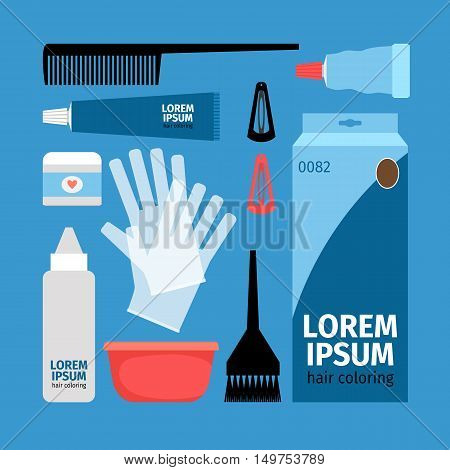 Set for hair coloring - a bowl, tube, hair dye, comb, brush, gloves, barrettes