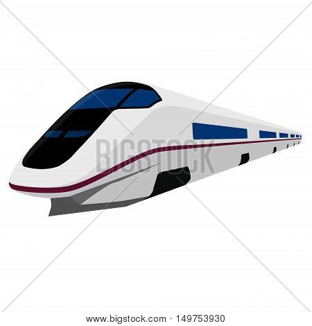 Vector illustration modern high speed train. Fast train. Vehicles to carry large numbers of passengers. High speed rail