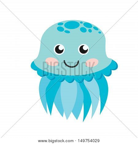 Cute happy jellyfish cartoon character sea animal vector illustration. Invertebrate animal sea fauna jellyfish medusa vector illustration. Nature animal aquatic medusa, aquarium tropical marine.