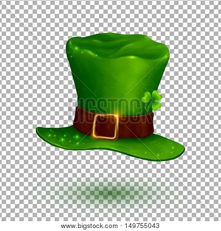 Green vector soft leprechaun hat in cartoon style isolated on transparency grid background