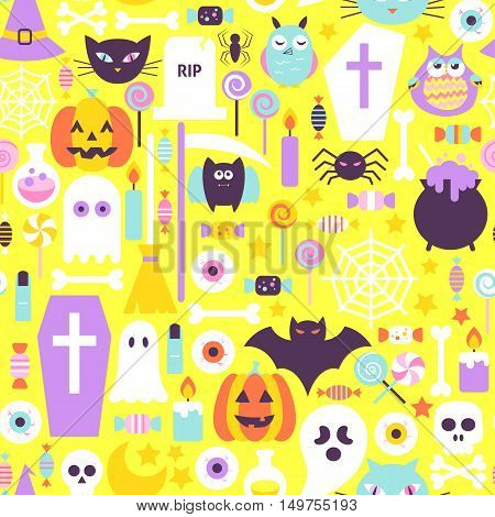 Halloween Trendy Color Seamless Pattern. Flat Design Vector Tile Background. Trick or Treat.