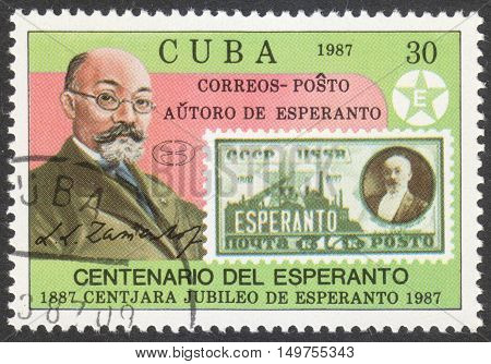 MOSCOW RUSSIA - CIRCA SEPTEMBER 2016: a stamp printed in CUBA shows a portrait of Lazarus Ludwig Zamenhof dedicated to the 100th Anniversary of Esperanto circa 1987