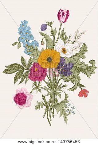 Victorian bouquet. Spring Flowers. Poppy anemones tulips delphinium. Vintage botanical illustration. Vector design element.