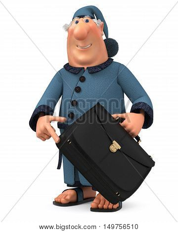 3D Illustration Of The Cheerful Businessman With A Portfolio