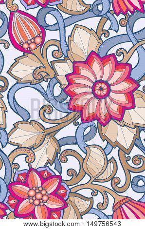 Seamless ornamental colorful pattern with stylized abstract flowers. Ethnic floral design template can be used for wallpaper, pattern fills, textile, fabric, wrapping, surface textures