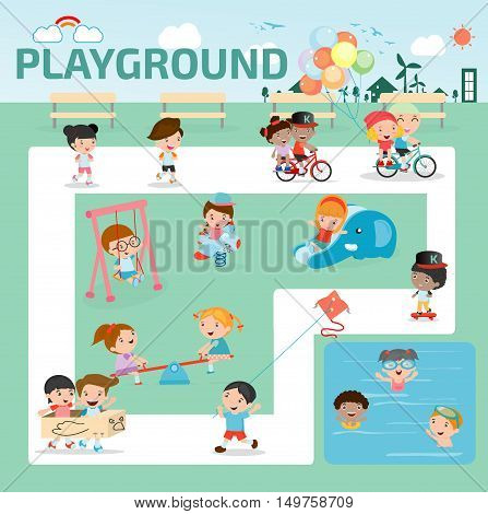 children in the playground infographic elements flat design illustration, kids at playground, kids time. isolated on white background, Vector Illustration.