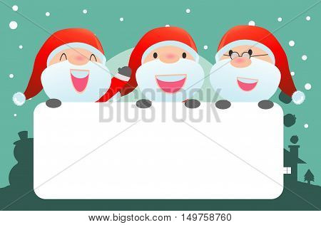 santa and greeting Christmas and New Year card, santa claus peeping behind placard, kids in santa claus costume characters celebrate, Cute little christmas collection, happy new year, Vecto
