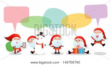 Cute santa with speech bubbles on white background, stylish children Santa claus Costumes with speech bubble, santa talking with speech balloon. happy new year Vector Illustration, Merry Christmas