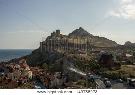 Ancient Genoese Fortress In Sudak Town. Crimea, Russia. Ukraine