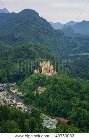 Landscape Of Bavarian Alps In Germany, Hohenschwangau Castle View.