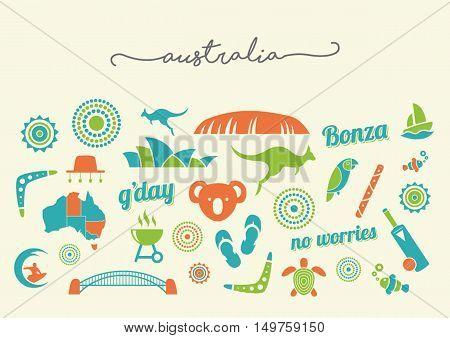 Australia icon set illustrations - vector illustrations
