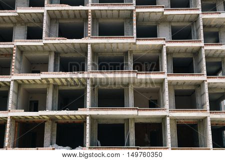 Residential or dormitory building under contstruction. Rental concept.