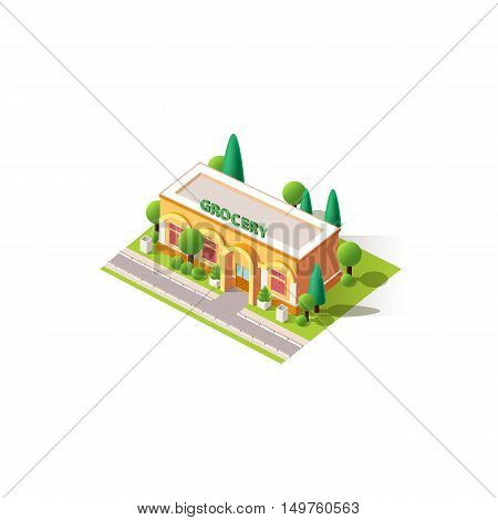 Stock vector illustration isometrics isolated grocery shop building with arranged territory for business center on a white background