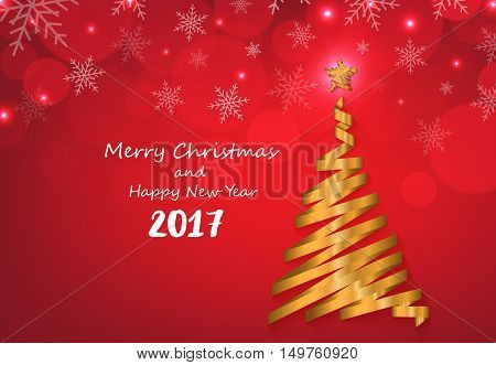 Gold ribbon make Christmas tree shape on red snowflakes background greeting card