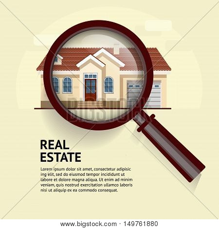 House under magnifying glass. Vector illustration of real estate concept with magnifying glass and your dream house. Suitable for posters, flyers or advertisement of real estate agents and location.