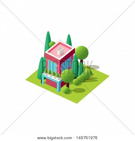 Stock vector illustration isometrics isolated multi-storey Art Nouveau building, cottage, villa, country house with arranged territory element for city info graphic on a white background