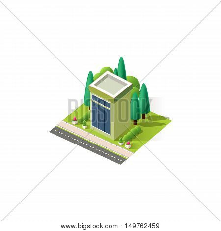 Stock vector illustration isometrics isolated multistory building with arranged territory for business center on a white background