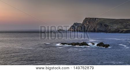 Sunset at Glencolumbcille bay Co Donegal Ireland. Atlantic ocean