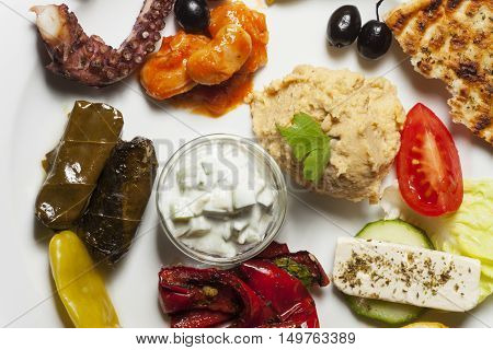 overview of a variety of greek appetizers