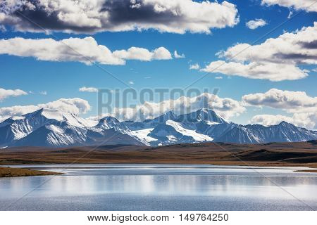 Beautiful landscape with big lake and mountains in background. Altay, Siberia, Russia
